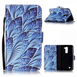 Blue Feather Leather Wallet Phone Case for LG K10