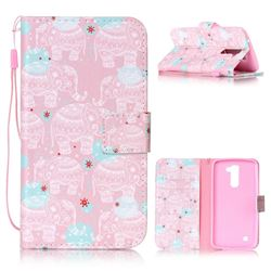 Pink Elephant Leather Wallet Phone Case for LG K10