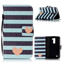 Blue Stripe Heart Leather Wallet Phone Case for LG K10