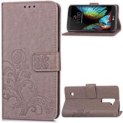 Embossing Imprint Four-Leaf Clover Leather Wallet Case for LG K10 - Grey