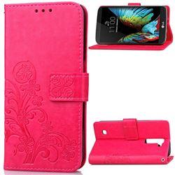 Embossing Imprint Four-Leaf Clover Leather Wallet Case for LG K10 - Rose