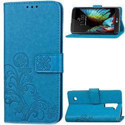 Embossing Imprint Four-Leaf Clover Leather Wallet Case for LG K10 - Blue
