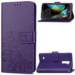 Embossing Imprint Four-Leaf Clover Leather Wallet Case for LG K10 - Purple
