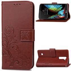 Embossing Imprint Four-Leaf Clover Leather Wallet Case for LG K10 - Brown