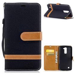 Jeans Cowboy Denim Leather Wallet Case for LG K10 K420N K430DS K430DSF K430DSY - Black