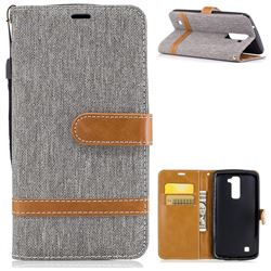 Jeans Cowboy Denim Leather Wallet Case for LG K10 K420N K430DS K430DSF K430DSY - Gray