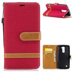 Jeans Cowboy Denim Leather Wallet Case for LG K10 K420N K430DS K430DSF K430DSY - Red