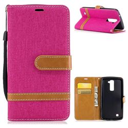 Jeans Cowboy Denim Leather Wallet Case for LG K10 K420N K430DS K430DSF K430DSY - Rose