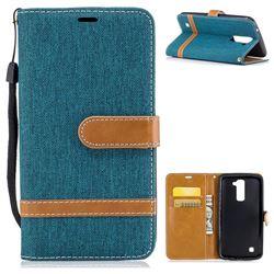 Jeans Cowboy Denim Leather Wallet Case for LG K10 K420N K430DS K430DSF K430DSY - Green