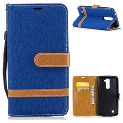 Jeans Cowboy Denim Leather Wallet Case for LG K10 K420N K430DS K430DSF K430DSY - Sapphire
