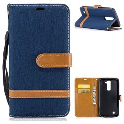 Jeans Cowboy Denim Leather Wallet Case for LG K10 K420N K430DS K430DSF K430DSY - Dark Blue