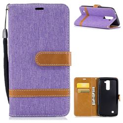 Jeans Cowboy Denim Leather Wallet Case for LG K10 K420N K430DS K430DSF K430DSY - Purple