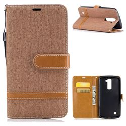Jeans Cowboy Denim Leather Wallet Case for LG K10 K420N K430DS K430DSF K430DSY - Brown