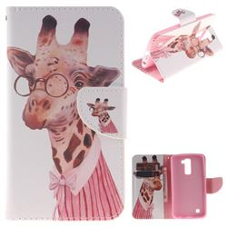 Pink Giraffe PU Leather Wallet Case for LG K10 K420N K430DS K430DSF K430DSY