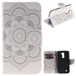 White Flowers PU Leather Wallet Case for LG K10 K420N K430DS K430DSF K430DSY