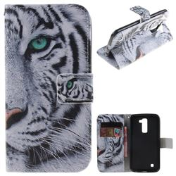 White Tiger PU Leather Wallet Case for LG K10 K420N K430DS K430DSF K430DSY