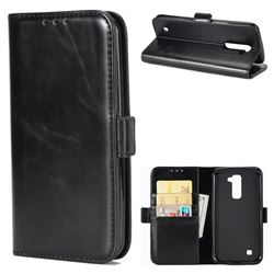 Luxury Crazy Horse PU Leather Wallet Case for LG K10 K420N K430DS K430DSF K430DSY - Black