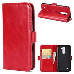 Luxury Crazy Horse PU Leather Wallet Case for LG K10 K420N K430DS K430DSF K430DSY - Red