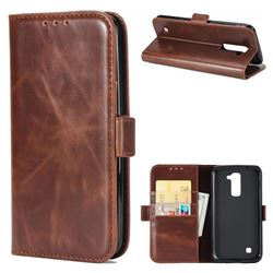 Luxury Crazy Horse PU Leather Wallet Case for LG K10 K420N K430DS K430DSF K430DSY - Coffee
