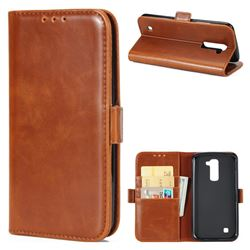 Luxury Crazy Horse PU Leather Wallet Case for LG K10 K420N K430DS K430DSF K430DSY - Brown