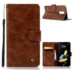 Luxury Retro Leather Wallet Case for LG K10 K420N K430DS K430DSF K430DSY - Brown