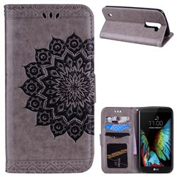 Datura Flowers Flash Powder Leather Wallet Holster Case for LG K10 K420N K430DS K430DSF K430DSY - Gray