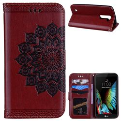 Datura Flowers Flash Powder Leather Wallet Holster Case for LG K10 K420N K430DS K430DSF K430DSY - Brown