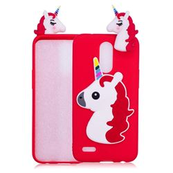 Unicorn Soft 3D Silicone Case for LG K10 2017 - Red