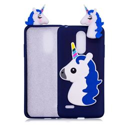 Unicorn Soft 3D Silicone Case for LG K10 2017 - Dark Blue
