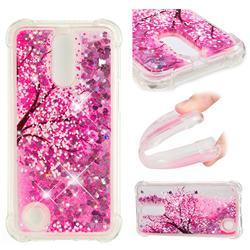 Pink Cherry Blossom Dynamic Liquid Glitter Sand Quicksand Star TPU Case for LG K10 2017