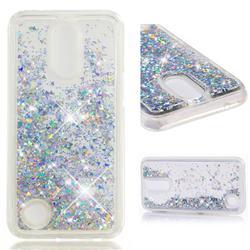 Dynamic Liquid Glitter Quicksand Sequins TPU Phone Case for LG K10 2017 - Silver