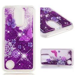 Purple Flower Butterfly Dynamic Liquid Glitter Quicksand Soft TPU Case for LG K10 2017