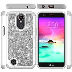 Glitter Rhinestone Bling Shock Absorbing Hybrid Defender Rugged Phone Case Cover for LG K10 2017 - Gray