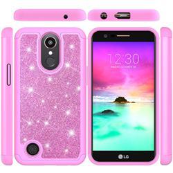 Glitter Rhinestone Bling Shock Absorbing Hybrid Defender Rugged Phone Case Cover for LG K10 2017 - Pink