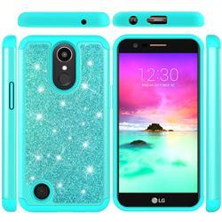 Glitter Rhinestone Bling Shock Absorbing Hybrid Defender Rugged Phone Case Cover for LG K10 2017 - Green