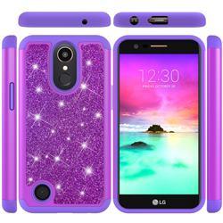 Glitter Rhinestone Bling Shock Absorbing Hybrid Defender Rugged Phone Case Cover for LG K10 2017 - Purple