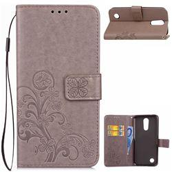 Embossing Imprint Four-Leaf Clover Leather Wallet Case for LG K10 2017 - Grey