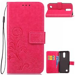 Embossing Imprint Four-Leaf Clover Leather Wallet Case for LG K10 2017 - Rose