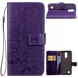 Embossing Imprint Four-Leaf Clover Leather Wallet Case for LG K10 2017 - Purple