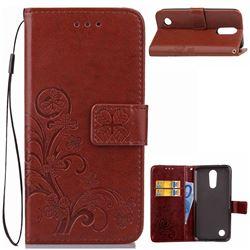 Embossing Imprint Four-Leaf Clover Leather Wallet Case for LG K10 2017 - Brown