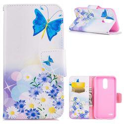 Butterflies Flowers Leather Wallet Case for LG K10 2017
