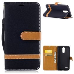 Jeans Cowboy Denim Leather Wallet Case for LG K10 2017 - Black