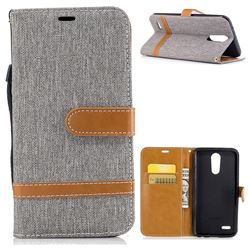 Jeans Cowboy Denim Leather Wallet Case for LG K10 2017 - Gray