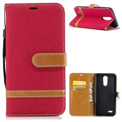 Jeans Cowboy Denim Leather Wallet Case for LG K10 2017 - Red