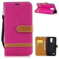 Jeans Cowboy Denim Leather Wallet Case for LG K10 2017 - Rose