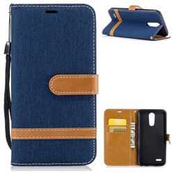 Jeans Cowboy Denim Leather Wallet Case for LG K10 2017 - Dark Blue