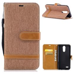 Jeans Cowboy Denim Leather Wallet Case for LG K10 2017 - Brown