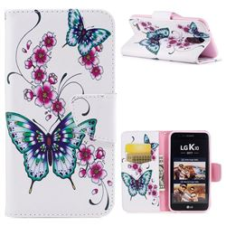 Peach Butterflies Leather Wallet Case for LG K10 2017