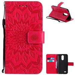 Embossing Sunflower Leather Wallet Case for LG K10 2017 - Red