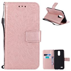 Embossing Sunflower Leather Wallet Case for LG K10 2017 - Rose Gold